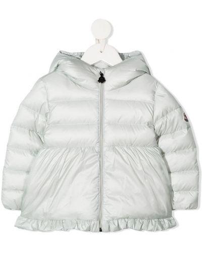 Серое пуховое пальто классическое с капюшоном Moncler Kids