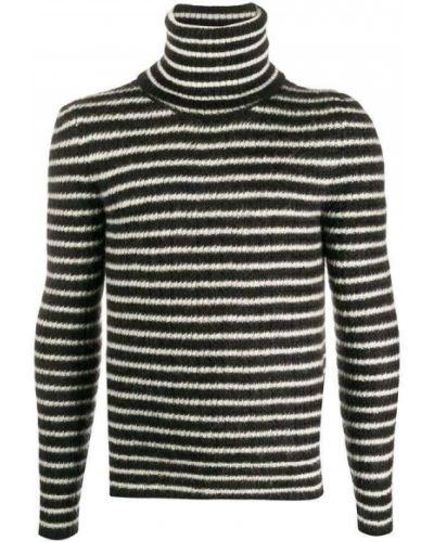 Czarny długi sweter moherowy z paskiem Saint Laurent