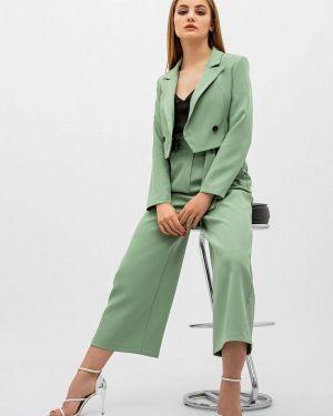 Облегающий костюмный зеленый брючный костюм Itelle