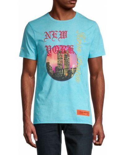 T-shirt bawełniana - niebieska Heron Preston