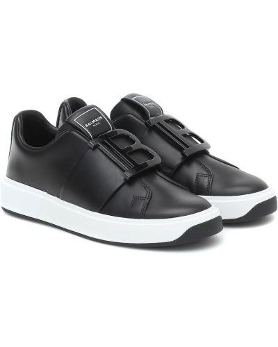 Черные кожаные кроссовки из натуральной кожи Balmain
