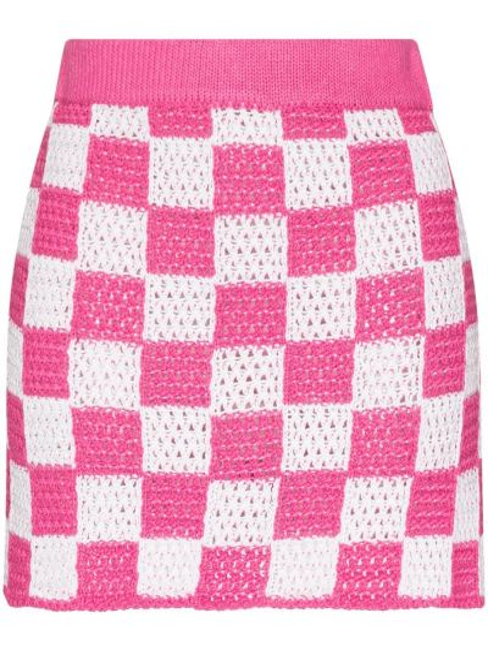 Розовая акриловая юбка мини в клетку Frankie's Bikinis