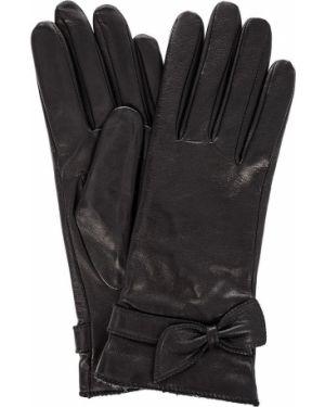 Кожаные перчатки с бантом Eleganzza