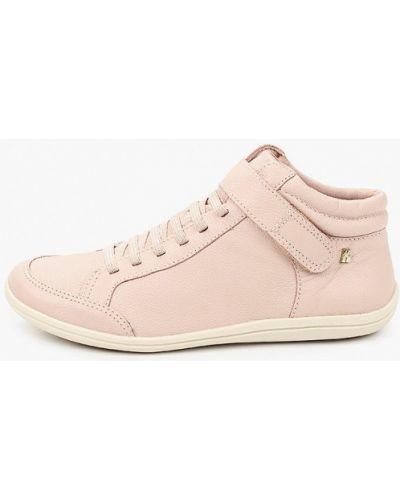 Розовые кожаные высокие кеды Bottero