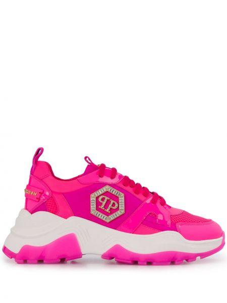 Кожаные кроссовки - розовые Philipp Plein