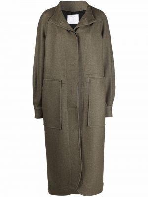 Зеленое шерстяное длинное пальто с потайной застежкой SociÉtÉ Anonyme
