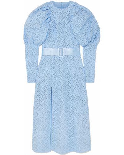 Niebieska sukienka midi tiulowa z paskiem Rotate Birger Christensen