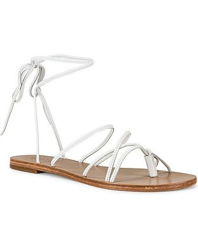 Białe sandały skórzane na obcasie Raye