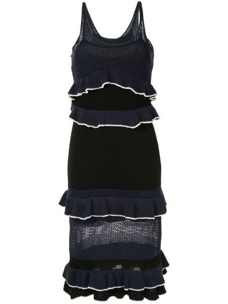 Трикотажное платье миди - синее Suboo