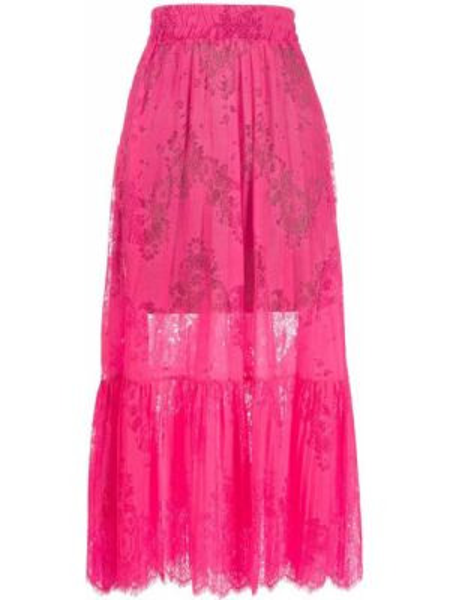 Różowa spódnica midi rozkloszowana z wysokim stanem So Allure