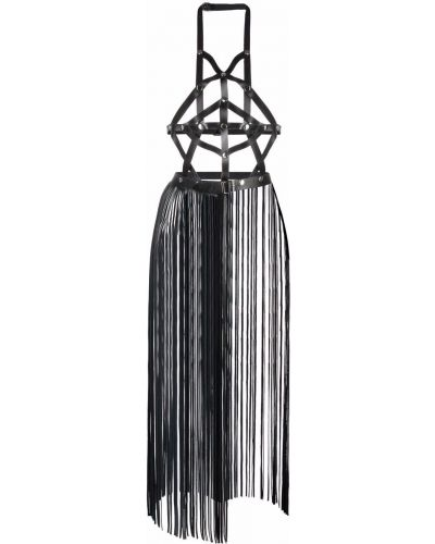 Черное кожаное платье Manokhi