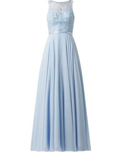 Niebieska sukienka wieczorowa rozkloszowana z szyfonu Luxuar