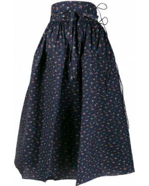 Плиссированная юбка с завышенной талией с цветочным принтом Horror Vacui