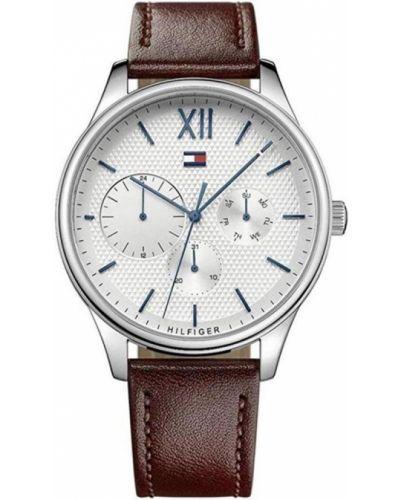 Szary zegarek na skórzanym pasku skórzany kwarc Tommy Hilfiger