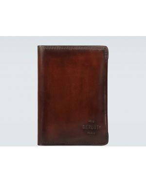 Brązowy portfel skórzany z printem Berluti
