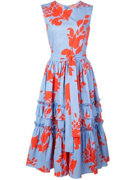 Niebieska sukienka w kwiaty bez rękawów Carolina Herrera
