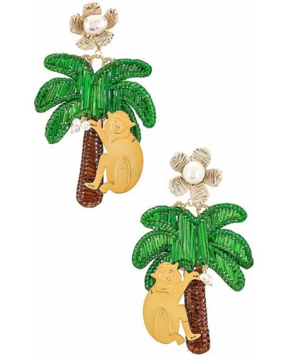 Zielone złote kolczyki perły Mercedes Salazar