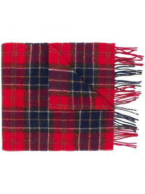 Красный шерстяной шарф квадратный с бахромой Barbour