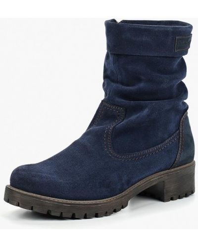 Синие полусапожки на каблуке Shoiberg