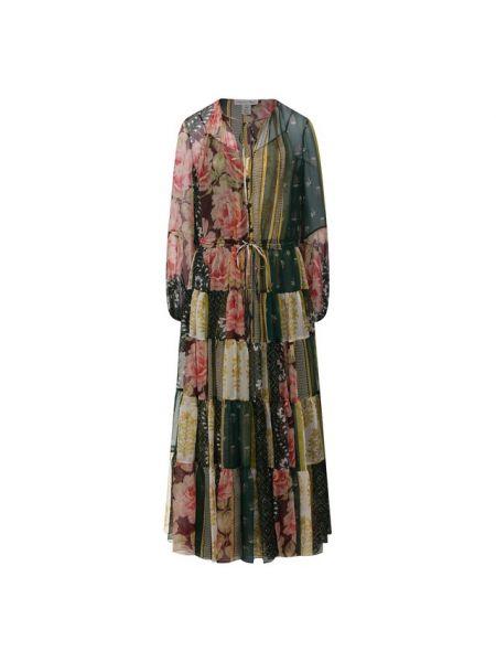 Шелковое платье каскадное в рубчик с подкладкой Oscar De La Renta