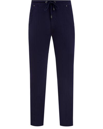Хлопковые синие спортивные брюки эластичные Cudgi