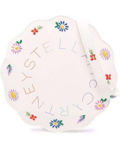 Biała torba na ramię bawełniana z haftem Stella Mccartney Kids