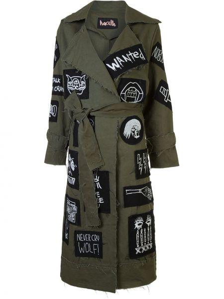Армейское зеленое пальто с поясом Haculla