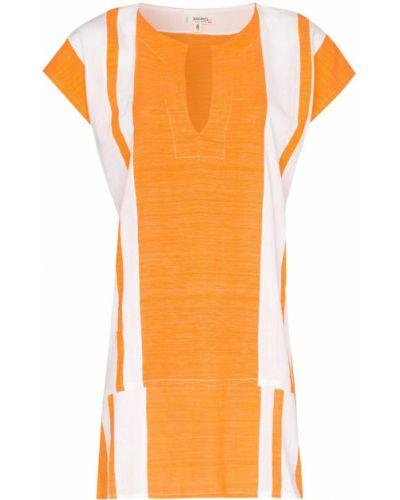Оранжевое с рукавами платье мини с воротником Lemlem