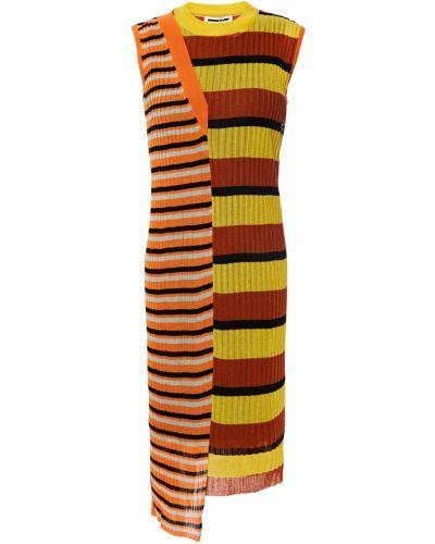 Оранжевое платье в полоску из вискозы Mcq Alexander Mcqueen