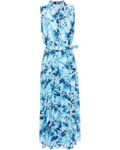 Бирюзовое платье миди на крючках из крепа Badgley Mischka