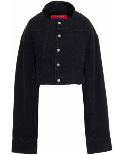 Хлопковая укороченная черная джинсовая куртка Solace London