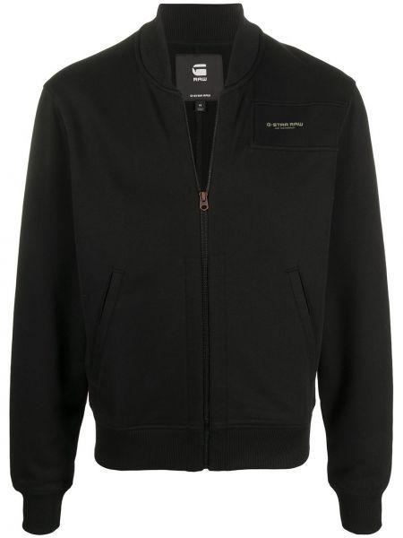 Приталенная черная длинная куртка с манжетами с карманами G-star Raw