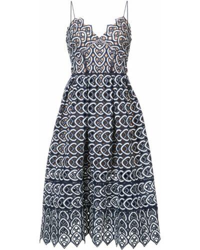 Платье миди с вышивкой платье-солнце Self-portrait