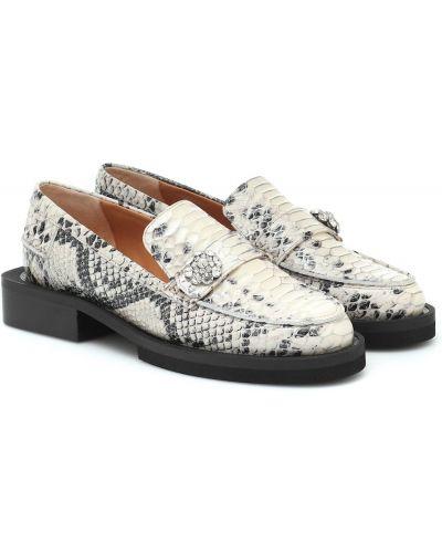 Białe loafers skorzane Ganni