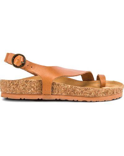 Brązowe sandały na platformie skorzane Soludos