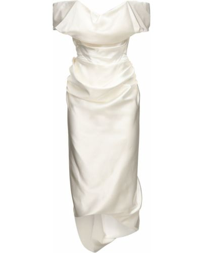 Бежевое шелковое платье с декольте Vivienne Westwood