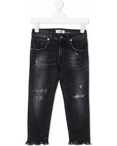 Хлопковые классические черные джинсы-скинни на молнии Dondup Kids