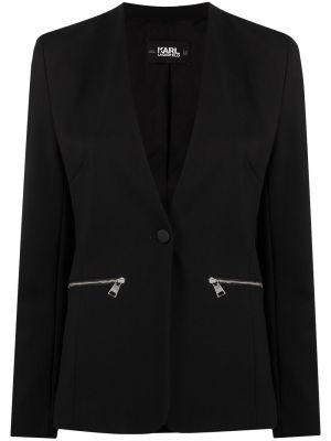 С рукавами черный удлиненный пиджак на молнии Karl Lagerfeld