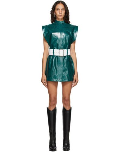 Zielona sukienka mini skórzana z paskiem Mowalola