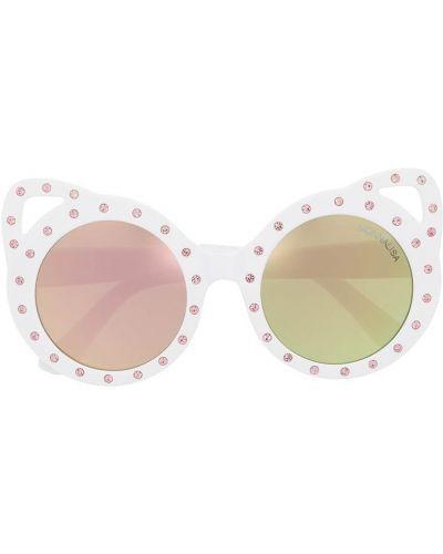 Прямые белые солнцезащитные очки круглые Monnalisa