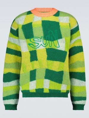 Зеленый шерстяной длинный свитер пэчворк Erl