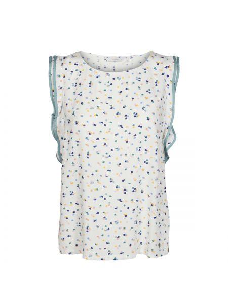 Белая блузка без рукавов с вырезом с рисунком из вискозы NÜmph