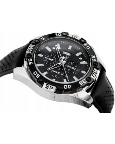 Czarny zegarek sportowy srebrny Gino Rossi