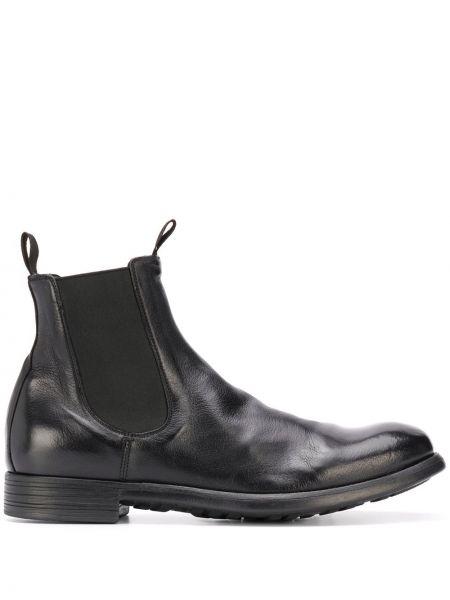 Czarny buty na wysokości z prawdziwej skóry z ozdobnym wykończeniem Officine Creative