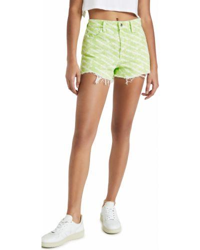 Хлопковые зеленые джинсовые шорты Denim X Alexander Wang