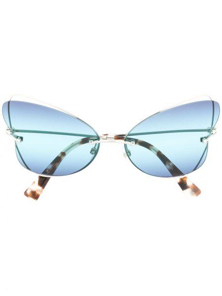 Серебряные солнцезащитные очки металлические с бабочкой Valentino Eyewear
