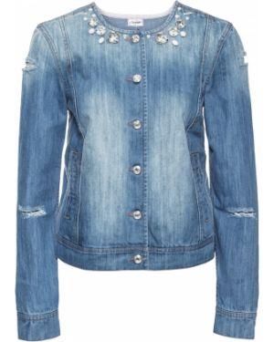 Джинсовая куртка со стразами синий Bonprix
