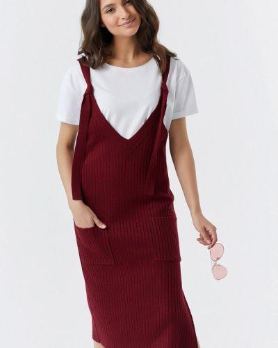 Платье бордовый вязаное Fly
