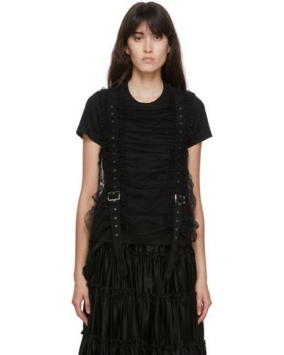 Czarny t-shirt bawełniany z paskiem Noir Kei Ninomiya
