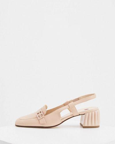Кожаные бежевые туфли с открытой пяткой Hogl